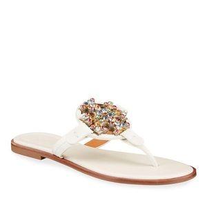 Tory Burch Miller Rainbow Crystal Flat Sandals 7.5